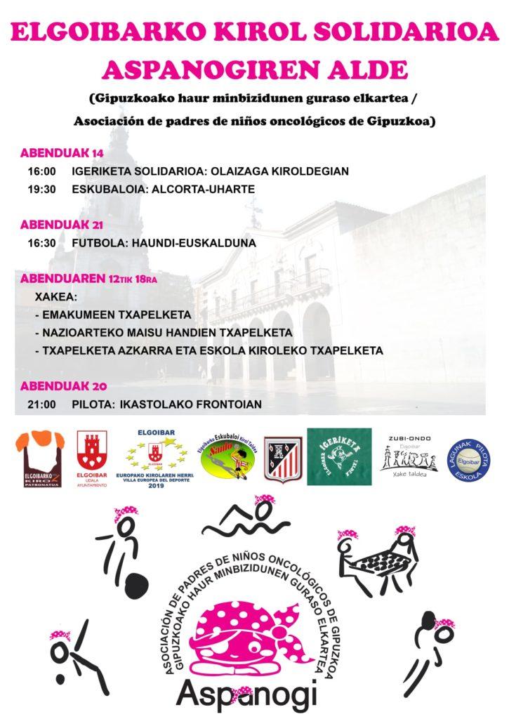 Cartel de eventos solidarios en Elgoibar a favor de Aspanogi